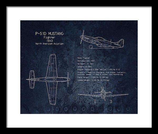Sara Harris - P-51 Mustang blueprint ar... Print