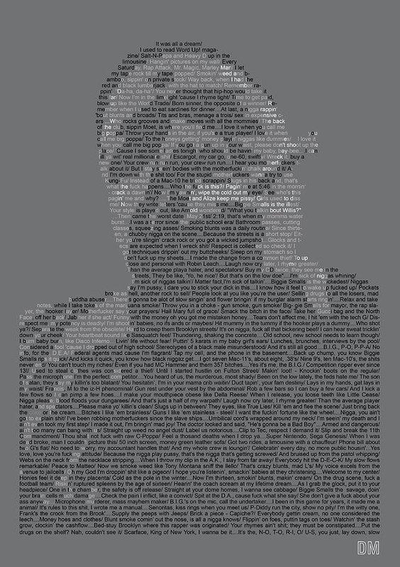 Donal Murphy - Biggie Lyric Potrait Print