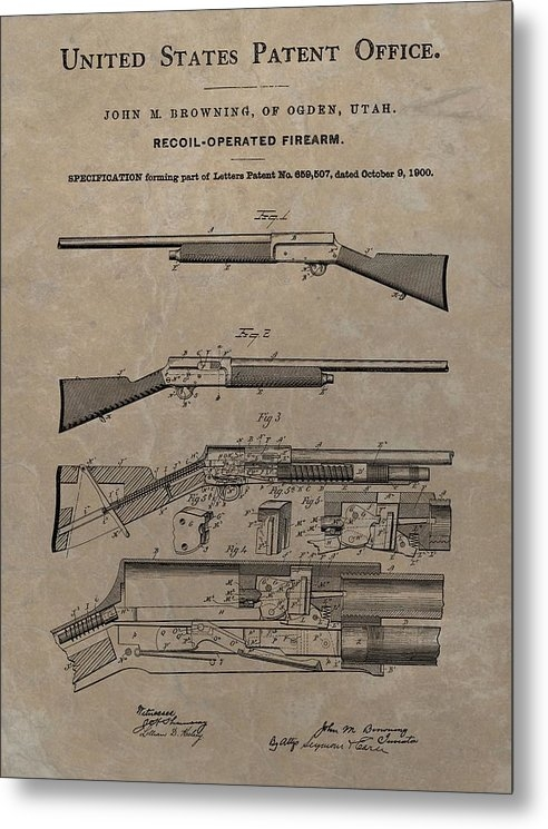 Dan Sproul - 1900 Firearm Patent  Print