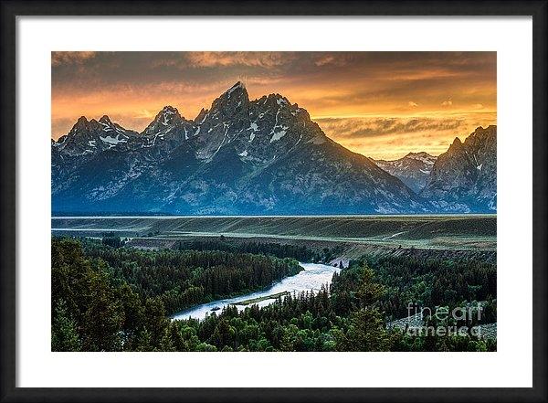 Gary Whitton - Sunset on Grand Teton and... Print
