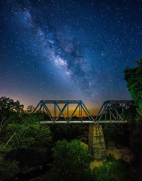 Tod and Cynthia Grubbs - Galaxy over Bridge Print