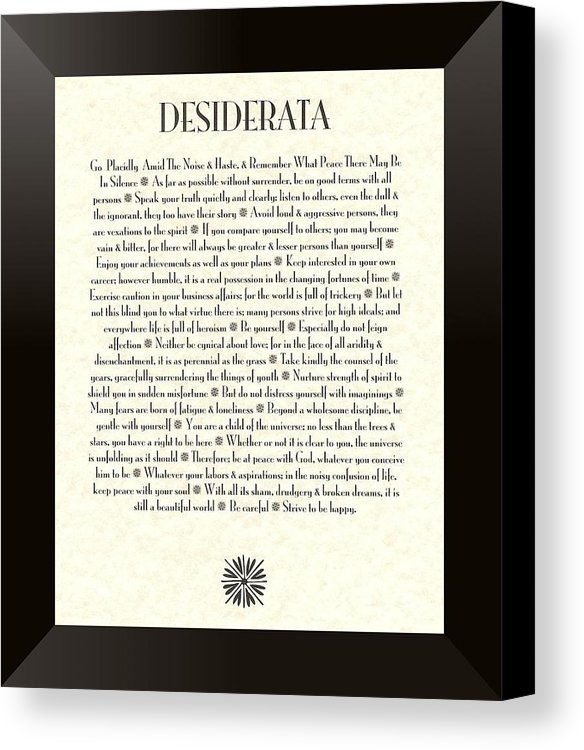 Desiderata Gallery - Black Border Sunburst DES... Print