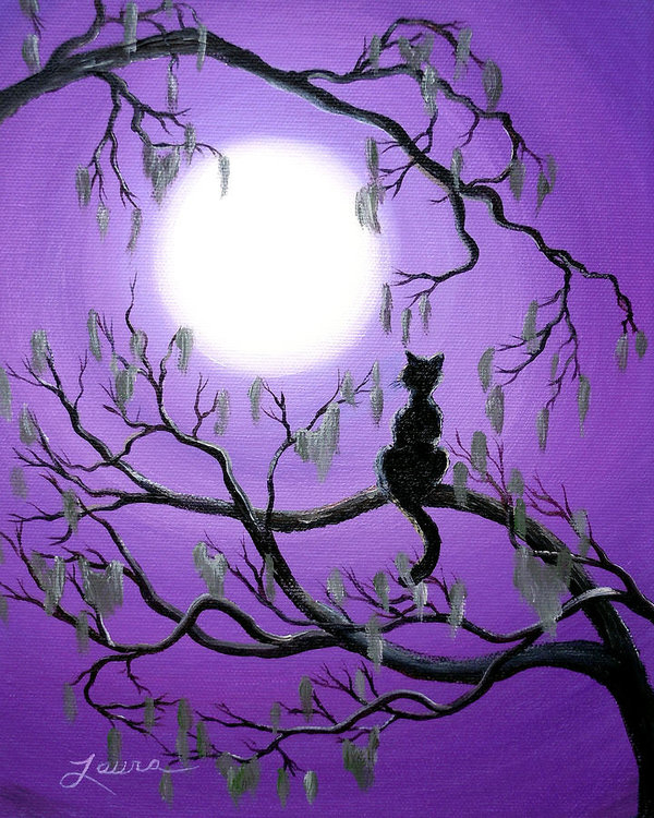 Laura Iverson - Black Cat in Mossy Tree Print