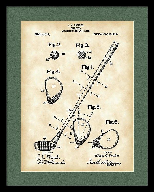 Stephen Younts - Golf Club Patent 1909 - V... Print