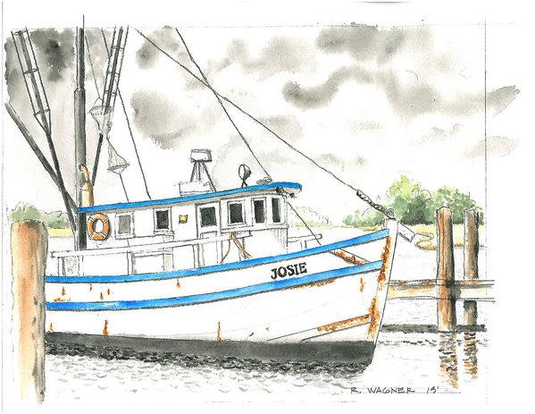 Roger Wagner - Shrimp Boat Josie Print