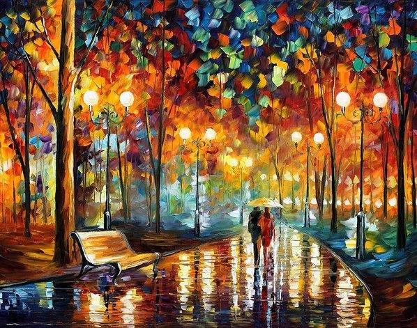 Leonid Afremov - Rain Rustle Print