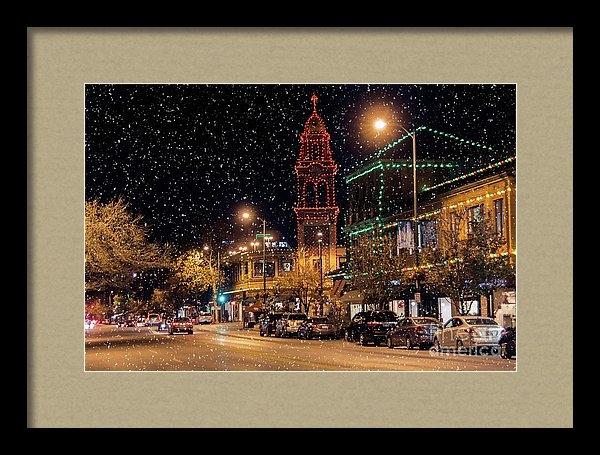 Carolyn Fox - Snow on the Plaza Lights Print