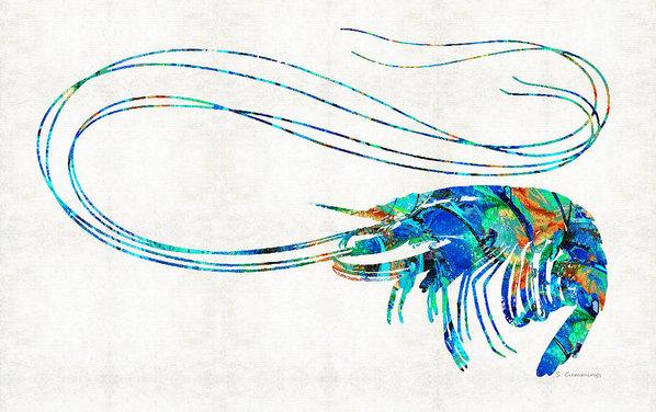Sharon Cummings - Blue Shrimp Art by Sharon... Print