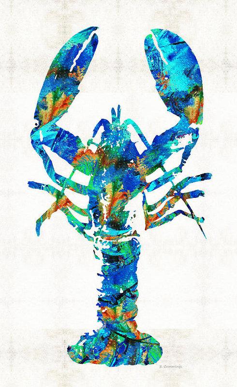 Sharon Cummings - Blue Lobster Art by Sharo... Print
