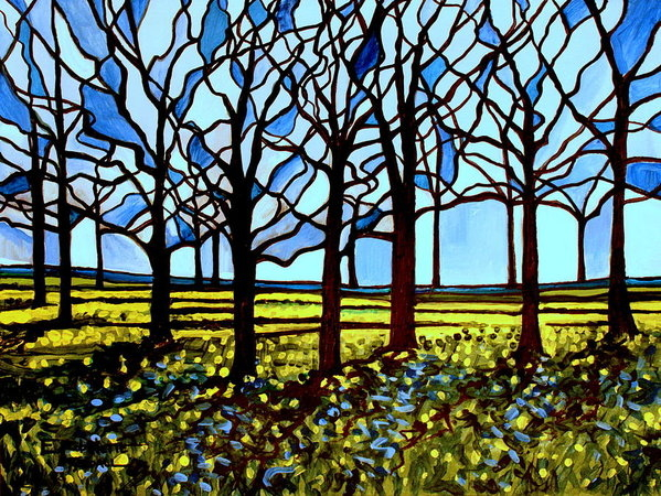 Elizabeth Robinette Tyndall - Stained Glass Trees Print