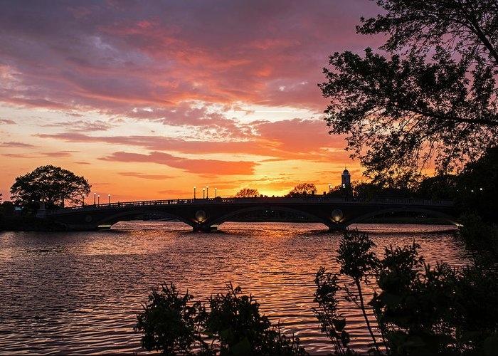 John Weeks Bridge Harvard Square Chales River Sunset Trees by Toby McGuire