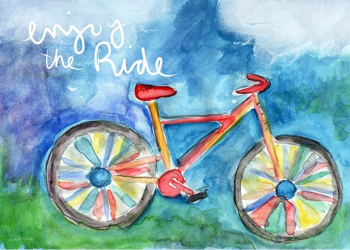 Enjoy The Ride- Colorful Bike Painting by Linda Woods