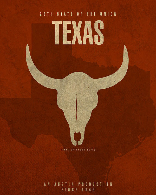 Design Turnpike - Texas State Facts Minimalist Movie Poster Art