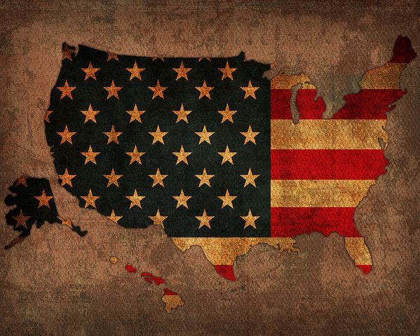 Design Turnpike - Map of America United States USA With Flag Art on Distressed Worn Canvas