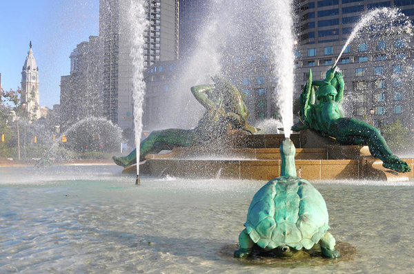 Bill Cannon - Spraying Water at Swann Fountain - Philadelphia