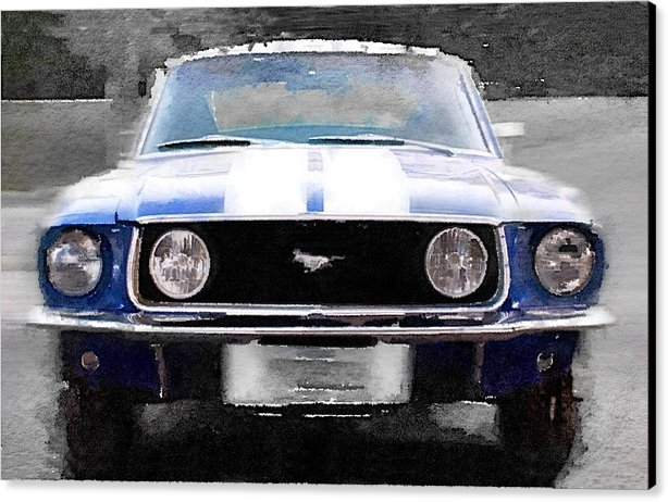 Naxart Studio - 1968 Ford Mustang Front End Watercolor