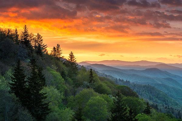 Dave Allen - Great Smoky Mountains North Carolina Scenic Landscape Cherokee Rising
