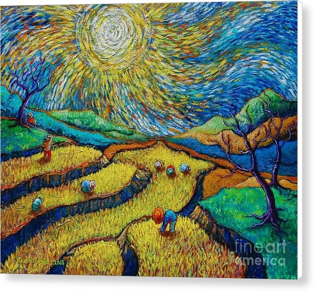 Paul Hilario - Toil Today Dream Tonight diptych painting number 1 after Van Gogh