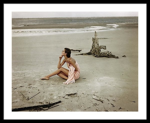 Frances McLaughlin-Gill - Model Wrapped In A Pink Towel On The Beach