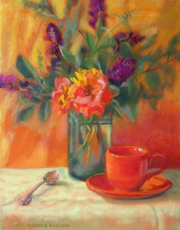 Bonnie Mason - Summer Song- Orange Roses and Butterfly Bush Blooms