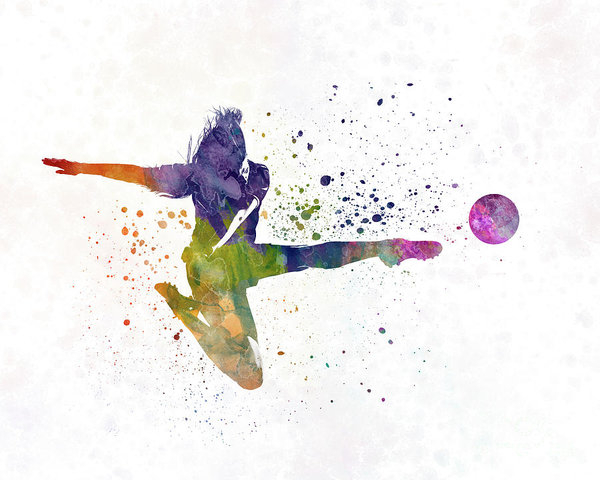 Pablo Romero - Woman soccer player 04 in watercolor