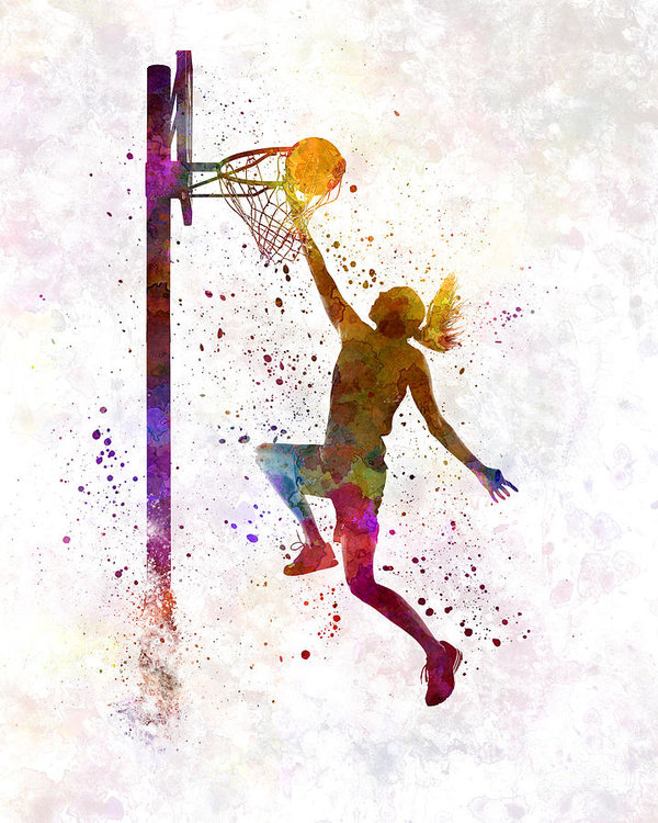 Pablo Romero - Young woman basketball player 04 in watercolor