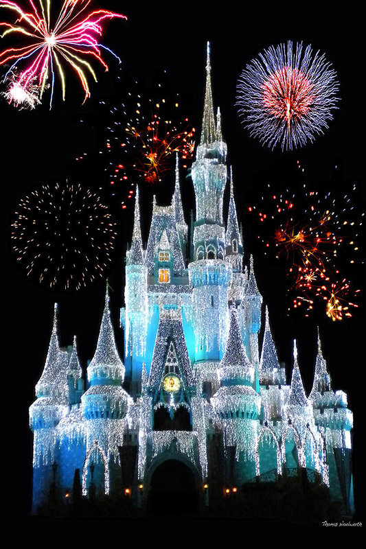 Thomas Woolworth - Magic Kingdom Castle In Frosty Light Blue with Fireworks 06
