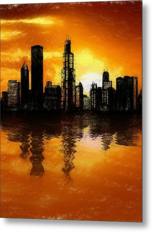 Dan Sproul - Chicago Skyline Sunset Reflection