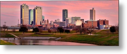 Jon Holiday - Fort Worth Skyline at Dusk Evening Color Evening Panorama Ft Worth Texas
