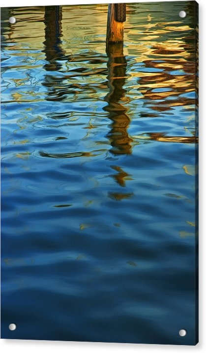 Randall Nyhof - Light Reflections on the Water by a Dock at Aransas Pass