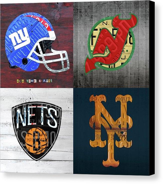 Design Turnpike - New York Sports Team License Plate Art Collage Giants Devils Nets Mets V6