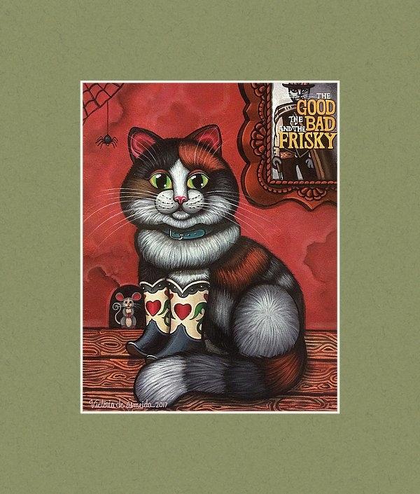 Victoria De Almeida - Western Boots Cat Painting