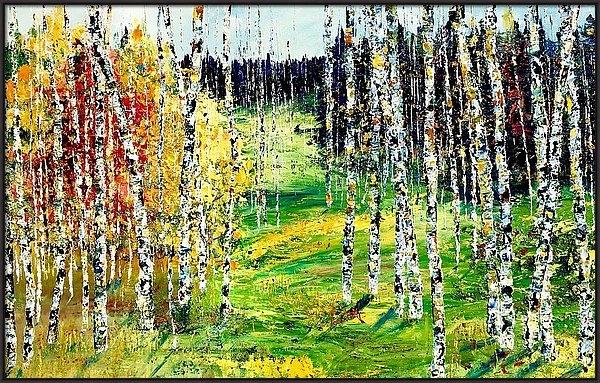 Julia S Powell - Hillside birches