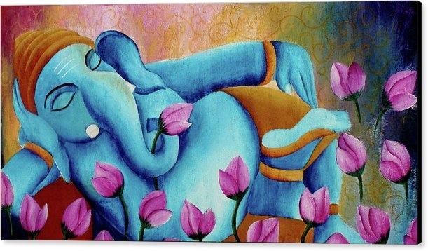 Mounika Narreddy - Original Colorful Bold Vibrant and Textured Sleeping Ganesha With Lotus Flowers Acrylic Painting