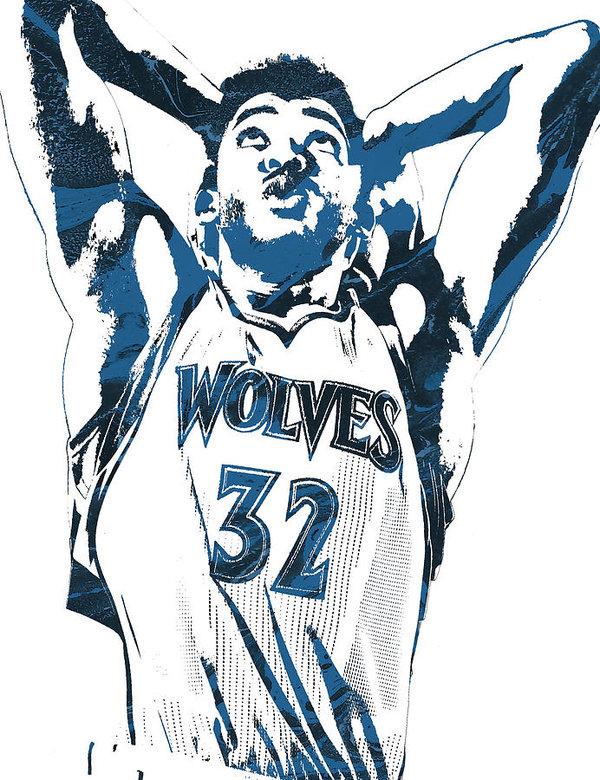 Joe Hamilton - Karl Anthony Towns Minnesota Timberwolves Pixel Art