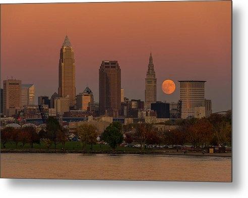 Judy Medina - Fall Supermoon Over Cleveland