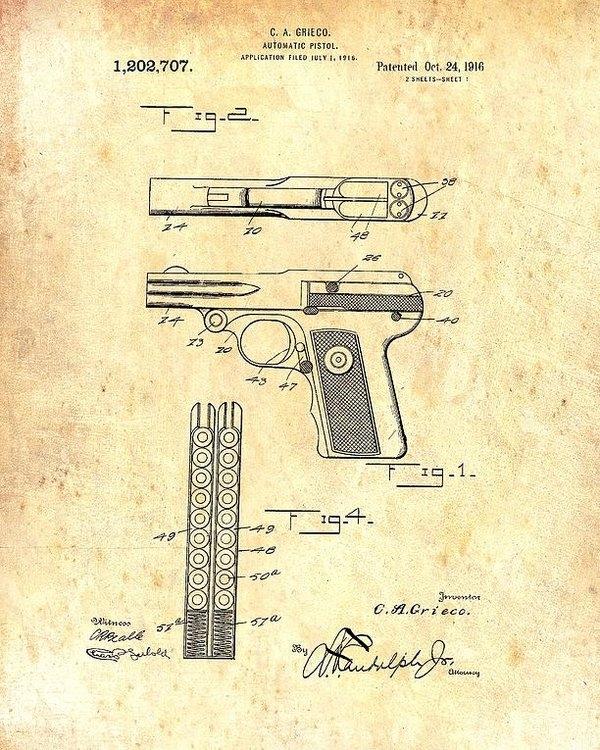 Mountain Dreams - Vintage Automatic Pistol Patent