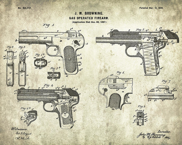 Jose Elias - Sofia Pereira - Automatic pistol operated by gas - Patent Drawing for the 1899 Gas Operated Firearm by J. M. Brownin