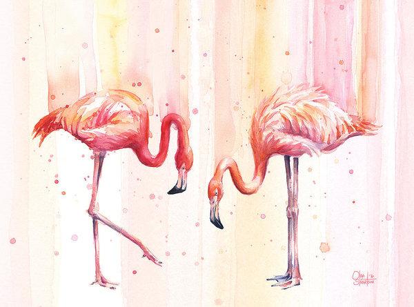 Olga Shvartsur - Two Flamingos Watercolor
