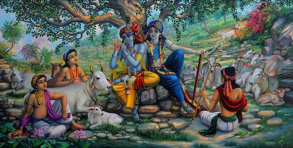Vrindavan Das - Krishna and Balaram with friends on Govardhan hill