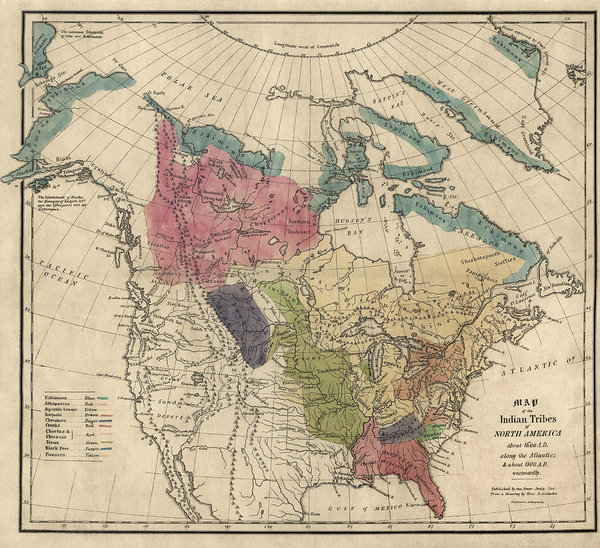 Blue Monocle - Antique Map of the Indian Tribes of North America by Albert Gallatin - 1836