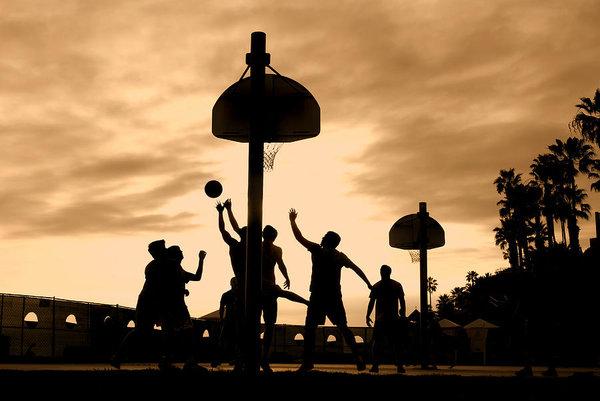 Joe Belanger - Basketball players at sunset