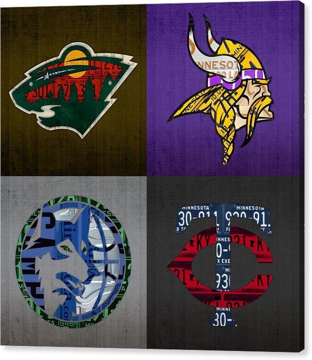 Design Turnpike - Minneapolis Sports Fan Recycled Vintage Minnesota License Plate Art Wild Vikings Timberwolves Twins