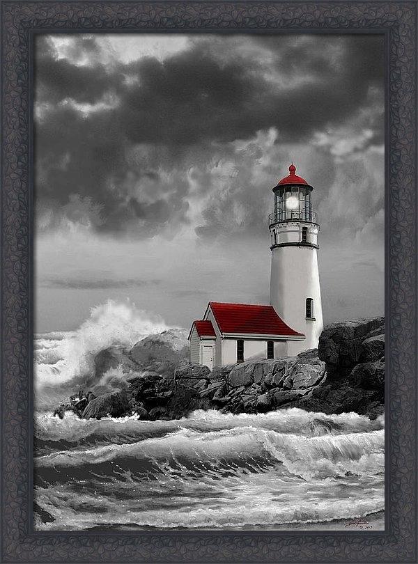 Regina Femrite - Oregon lighthouse Cape Blanco in black white and red