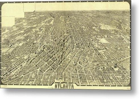 Studio Grafiikka - Antique Maps - Old Cartographic maps - Antique Birds Eye View Map of Atlanta