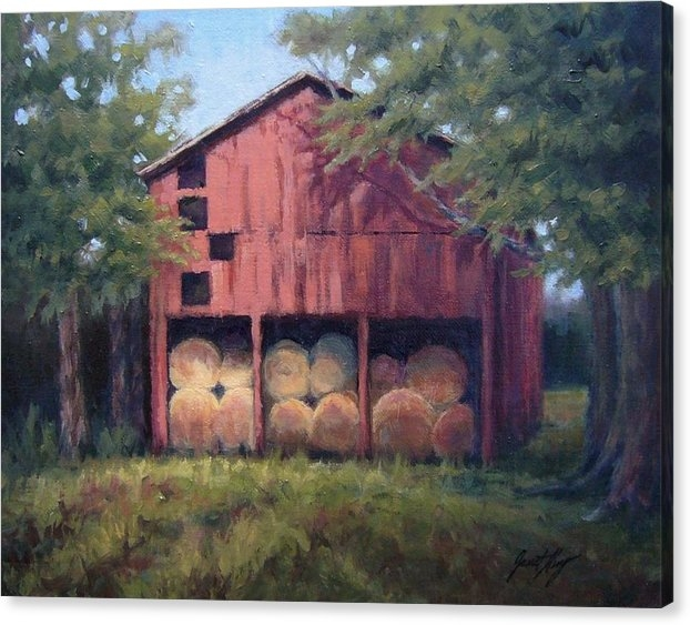 Janet King - Tennessee Barn with Hay Bales