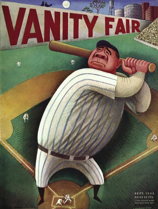 Miguel Covarrubias - Vanity Fair Cover Featuring Babe Ruth