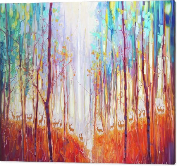Gill Bustamante - Forest Souls - an autumn forest with deer