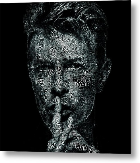 Jose Elias - Sofia Pereira - David Bowie Text Portrait - Typographic face poster created with all the album titles by David Bowie