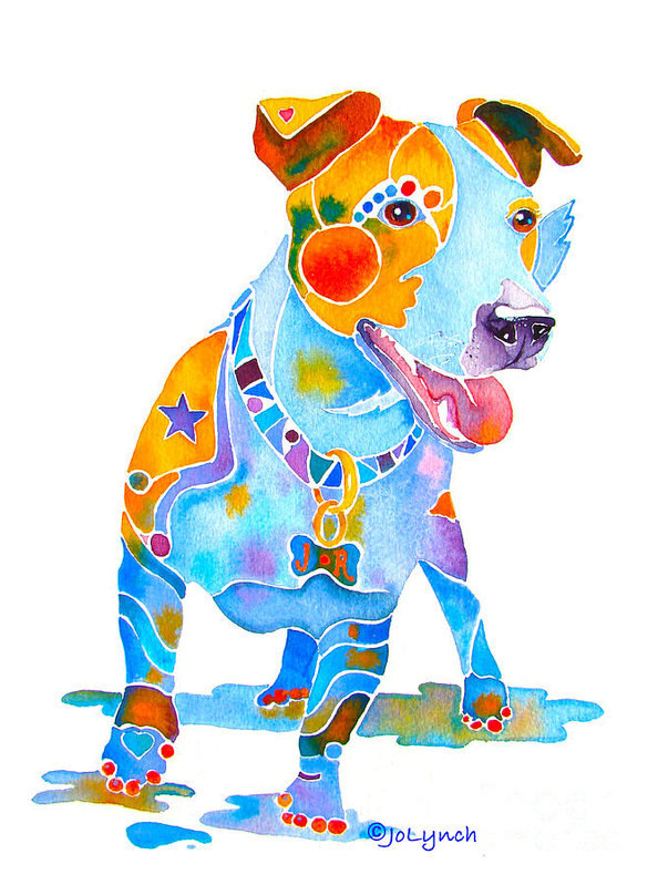 Jo Lynch - Jack Russell Terrier Colorful Painting